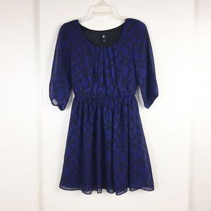 Cobalt blue fit and flare dress